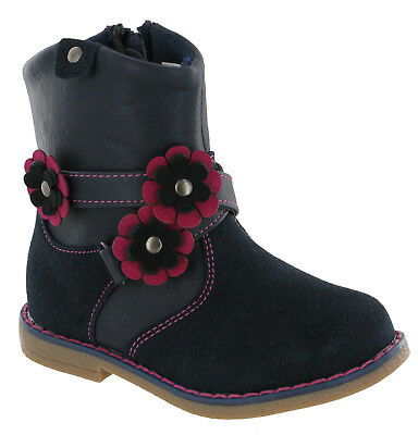 Chatterbox Daisy Childrens Boots Girls Infants Flat Flower Zip Up Shoes UK 4-11