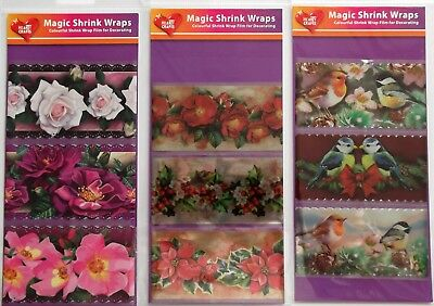 Magic Shrink Wraps, Roses, Xmas flowers and Birds 3 wraps in a packet 6CM