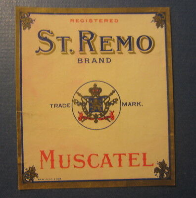 Old Antique c.1910 - ST. REMO - Muscatel WINE Bottle LABEL