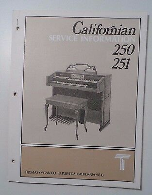 Original Thomas Organ Service Information Californian 250 251
