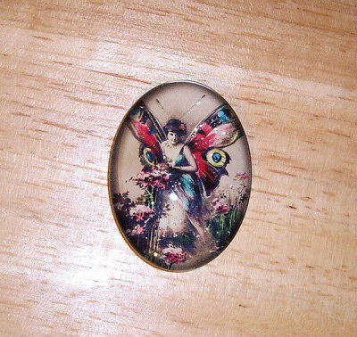 Antique Butterfly Fairy 30X40mm Glitter Unset Handmade Art Bubble Cameo Cabochon