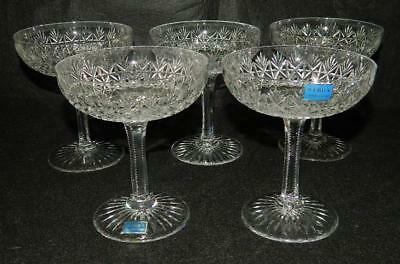 5 Thomas Webb Wellington Cut Crystal Saucer Champagne Sherbet Glasses Free Ship
