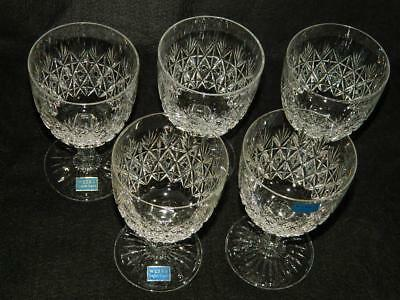 5 Thomas Webb Wellington Cut Crystal Water Goblet Glasses NEW England Free Ship