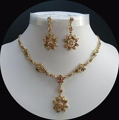 Vintage Gold Necklace & Earrings Set Wedding Jewelry Topaz Crystals  N3153