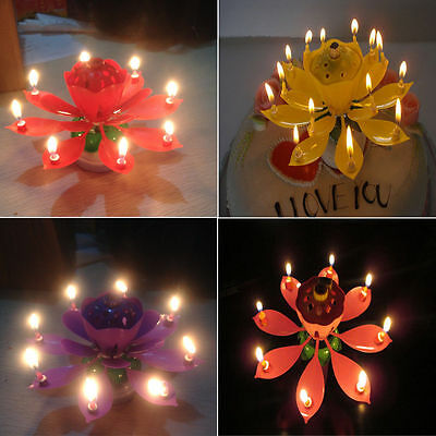 8 Candle Musical Rotating Lotus Flower Cake Topper Party Birthday  Lamp Gift