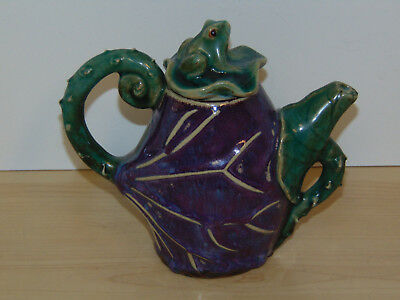 Vintage Stoneware Eggplant Teapot w/Frog Lid-VG Condition