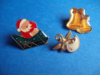 Vintage Christmas Enamel Angel Santa Clause Sleigh Bells  Button Pin Back Lot 3