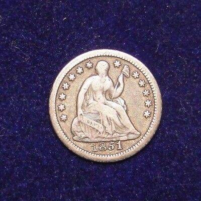 1851-O Seated Liberty Half Dime Rare Old Us Type Coin