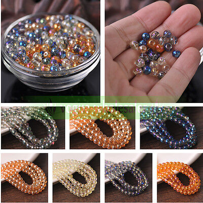 Electroplating Charms Crystal Glass Round Loose Beads 4mm 6mm 8mm 10mm Making