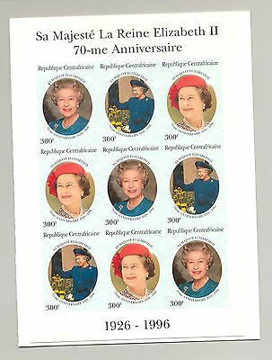 Central Africa 1996 Queen 70th Birthday M/S of 9 & S/S Imperf Chromalin Proofs