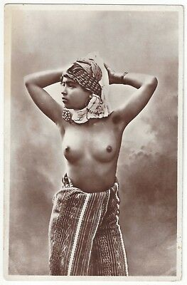 1920 French NUDE Photograph - Youthful Arab in Head Scarf, Earrings