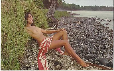 1950's Ethnic NUDE Postcard - Slim Youthful Tahitian Woman on Beach, Tahiti