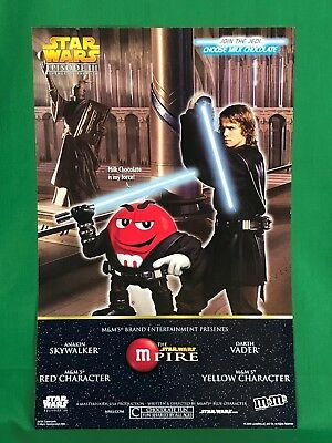 "Star Wars Episode III M&M M & M Yellow Peanut & Red 2 Sided Poster 11""x17"" LV3"