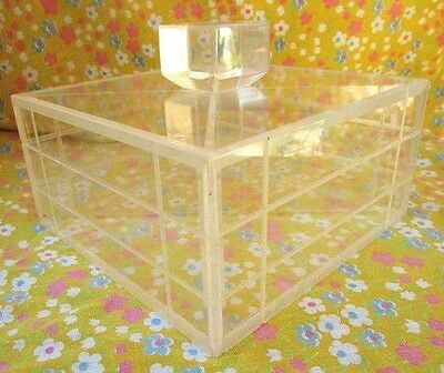Vtg Mid Century Acrylic Lucite Covered Sectional Box w/ Lid Pastries Jewelry