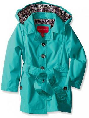 London Fog Big Girls Turquoise Radiance Trench Coat Size 7/8 10/12 14/16