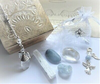 Angel Connection Crystals Gemstones Spiritual Chakra Gift Set Charm Angelite