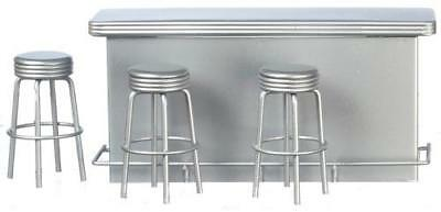 Miniature Dollhouse 1:12 Scale Diner 1950's Retro Counter/3 Silver Stools-T5921