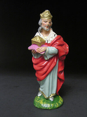Early to Mid 20th C Nativity Scene Wise Man & Chest of Gold Hand Painted Italy