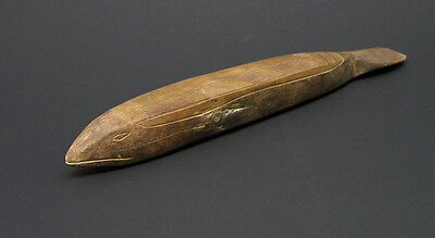 Early to Mid-20th Century Papua New Guinea Carved Wooden Fish Incised Decoration