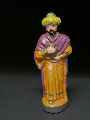 Early to Mid 20th C Nativity Scene Wise Man With Gift of Gold, Hand Painted Japa