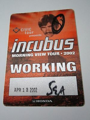 INCUBUS 2002 April 12th Seattle Concert Morning View Tour Backstage Satin Pass
