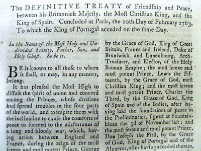 1763 newspaper wEntire printing TREATY OF PARIS ENDING the FRENCH AND INDIAN WAR