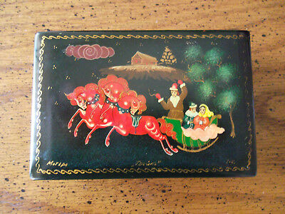 Vintage Russian Hand Painted Signed Laquer Box Christmas Scene