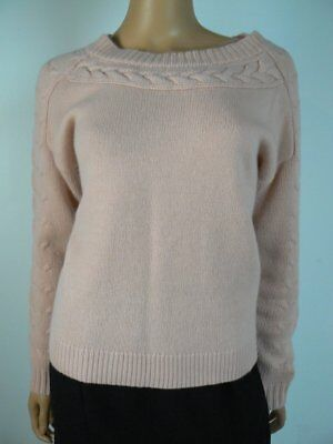 Ann Taylor Wool Cashmere Blend Cable Knit Light Pink Sweater Small 4 6 NEW A902