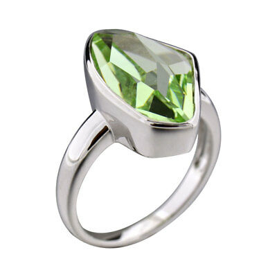 Sterling Silver Green Crystal Women's Wedding Engagement Ring Solitaire