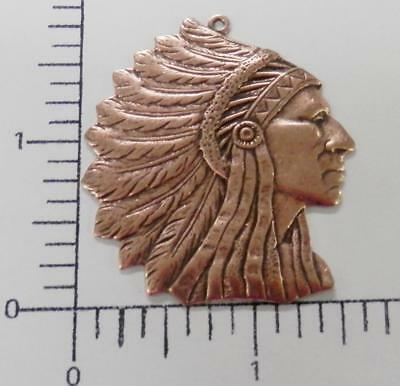 39225         Copper Oxidized Large American Indian Head Pendant Charm