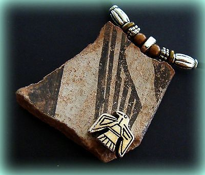Authentic Old ANASAZI POTTERY SHARD PENDANT NECKLACE Jewelry w/ Beadwork