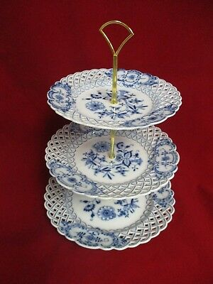 "Vintage Meissen Blue Onion 3 Tier Reticulated Cake Plate Server, 8.25""-11.25"""