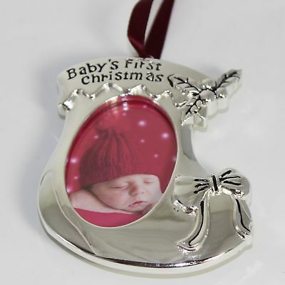 Baby's 1st Christmas Silver Hanging Photo Frame Decoration - Stocking