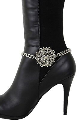 Women Western Boot Anklet Silver Chain Metal Shoe Anklet Bling Big Flowers Charm