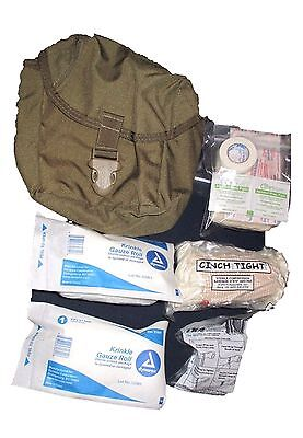 Military Surplus US ARMY USMC IFAK Coyote Basic First Aid Kit Pouch over 12pcs