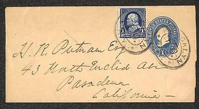 USA SCOTT W303 STATIONERY WRAPPER & 264 STAMP NEW YORK TO CALIFORNIA COVER 1890s