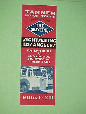 1940 TANNER MOTOR TOURS Los Angeles Sightseeing GRAY LINE Illustrated Brochure