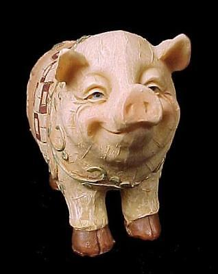 """Whimsical Collectible Pig Figurine in Floral Quilted Resin 3""""H X 1.75""""W X 4.75""""H"""