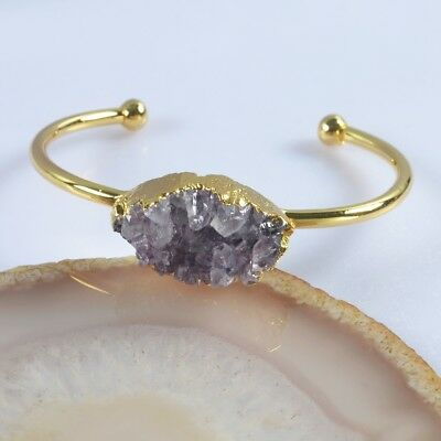 Natural Amethyst Druzy Bangle Gold Plated H102162