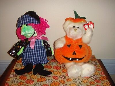 Ty Attic Treasures Carver Pumpkin And Beanie Baby Scary Witch