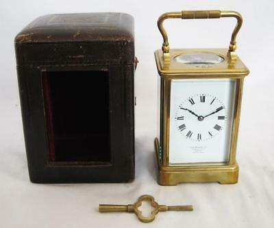 Stunning Top Quality Antique Carriage Clock J W Benson Original Case & Key 1920