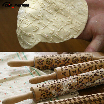 Wooden Rolling Pin for Mastic Embossing Fondant Cake Dough Patterned Roller