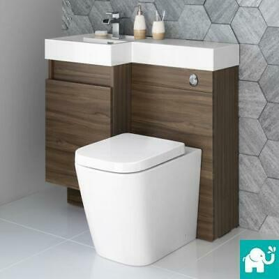 Walnut Combined Vanity Unit with Toilet, Basin & Cistern | Modern Bathroom