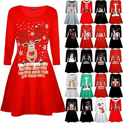 Kids Girls Children Reindeer Santa Costume Christmas Xmas Flare Swing Mini Dress