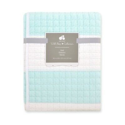 Just Born Bleached Aqua Awning Stripe Quilt