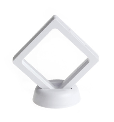 Square Clear Coin Ring Jewellery Holder Display Case  Stand KEW Sovereign WHITE