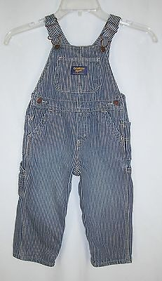 Vintage Osh Kosh Vestbak Kid Striped Bib Overalls sz 24 m Train Engineer