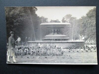 Lady In Front Of Fountain In Albert Park, Middlesbrough - Real Photo (1948)