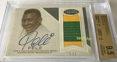 2016 Topps Dynasty Worn Patch On Card Auto: Pele #5/5 Bgs 9.5 Autograph 10 Gem