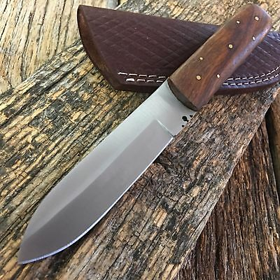 """FULL TANG 8"""" Full Tang Western Style Fixed Blade Patch Knife Leather Sheath new!"""